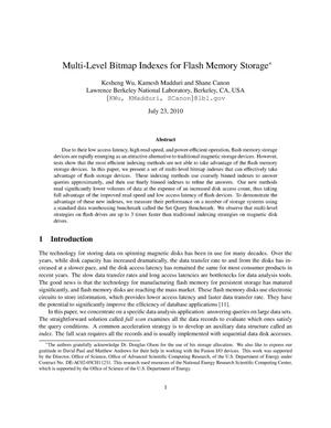Primary view of object titled 'Multi-Level Bitmap Indexes for Flash Memory Storage'.