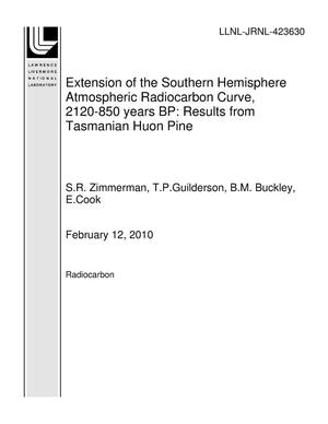 Primary view of object titled 'Extension of the Southern Hemisphere Atmospheric Radiocarbon Curve, 2120-850 years BP: Results from Tasmanian Huon Pine'.