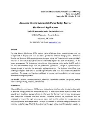 Primary view of object titled 'Advanced Electric Submersible Pump Design Tool for Geothermal Applications'.