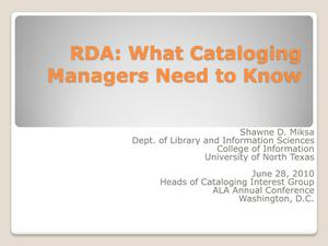 Primary view of object titled 'RDA: What Cataloging Managers Need to Know'.