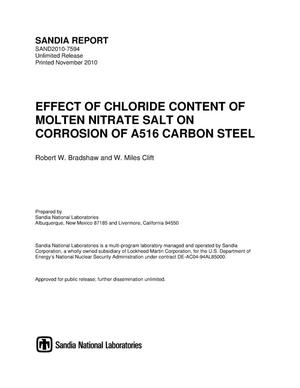 Primary view of object titled 'Effect of chloride content of molten nitrate salt on corrosion of A516 carbon steel.'.