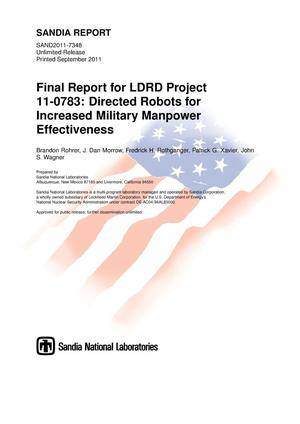 Primary view of object titled 'Final report for LDRD project 11-0783 : directed robots for increased military manpower effectiveness.'.