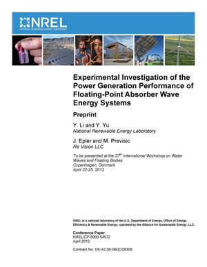 Primary view of object titled 'Experimental Investigation of the Power Generation Performance of Floating-Point Absorber Wave Energy Systems: Preprint'.