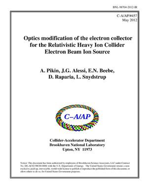 Primary view of object titled 'Optics modification of the electron collector for the Relativistic Heavy Ion Collider Electron Beam Ion Source'.