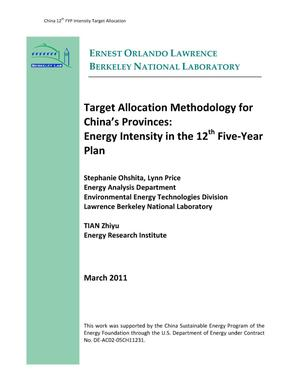 Primary view of object titled 'Target Allocation Methodology for China's Provinces: Energy Intensity in the 12th FIve-Year Plan'.