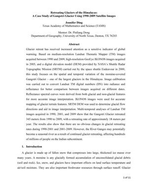 Primary view of object titled 'Retreating Glaciers of the Himalayas: A Case Study of Gangotri Glacier Using 1990-2009 Satellite Images'.