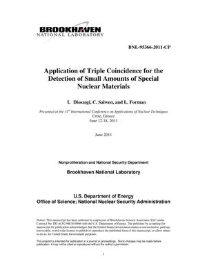 Primary view of object titled 'Application of Triple Coincidence for the Detection of Small Amounts of Special Nuclear Materials'.
