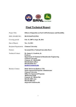 Primary view of object titled 'Final Technical Report: Effects of Impurities on Fuel Cell Performance and Durability'.