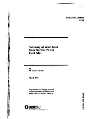 Primary view of object titled 'Summary of Wind Data from Nuclear Power Plant Sites'.
