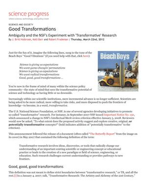 Good Transformations: Ambiguity and the NSF's Experiment with 'Transformative' Research