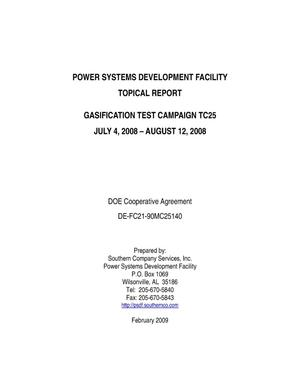 Primary view of object titled 'Power Systems Development Facility Gasification Test Campaign TC25'.
