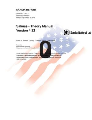 Primary view of object titled 'Salinas : theory manual.'.