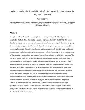 Primary view of object titled 'Adopt-A-Molecule: A guided Inquiry for Increasing Student Interest in Organic Chemistry'.