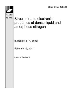 Primary view of object titled 'Structural and electronic properties of dense liquid and amorphous nitrogen'.