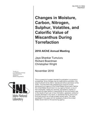 Primary view of object titled 'CHANGES IN MOISTURE, CARBON, NITROGEN, SULPHUR, VOLATILES, AND CALORIFIC VALUE OF MISCANTHUS DURING TORREFACTION'.