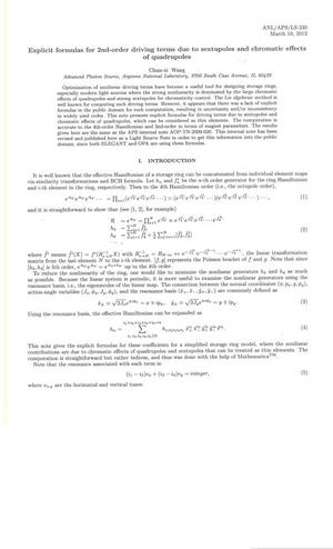 Primary view of object titled 'Explicit formulas for 2nd-order driving terms due to sextupoles and chromatic effects of quadrupoles.'.