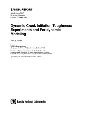 Primary view of object titled 'Dynamic crack initiation toughness : experiments and peridynamic modeling.'.