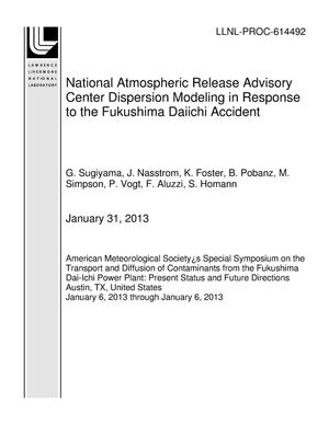 Primary view of object titled 'National Atmospheric Release Advisory Center Dispersion Modeling in Response to the Fukushima Daiichi Accident'.