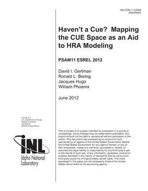 Primary view of object titled 'Haven't a Cue? Mapping the CUE Space as an Aid to HRA Modeling'.