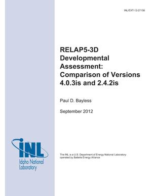 Primary view of object titled 'RELAP5-3D Developmental Assessment: Comparison of Versions 4.0.3is and 2.4.2is'.