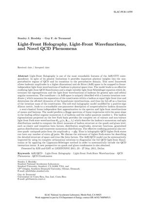 Primary view of object titled 'Light-Front Holography, Light-Front Wavefunctions, and Novel QCD Phenomena'.
