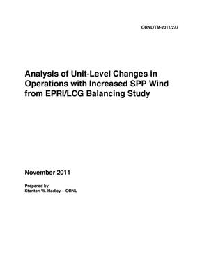 Primary view of object titled 'Analysis of Unit-Level Changes in Operations with Increased SPP Wind from EPRI/LCG Balancing Study'.