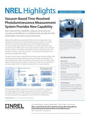 Primary view of object titled 'Vacuum-Based Time-Resolved Photoluminescence Measurement System Provides New Capability (Fact Sheet)'.