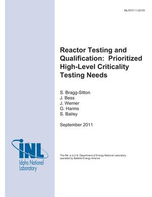 Primary view of object titled 'Reactor Testing and Qualification: Prioritized High-level Criticality Testing Needs'.