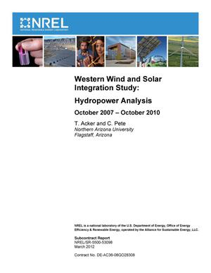 Primary view of object titled 'Western Wind and Solar Integration Study: Hydropower Analysis'.