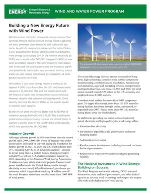 Primary view of object titled 'Building a New Energy Future with Wind Power (Revised) (Fact Sheet)'.