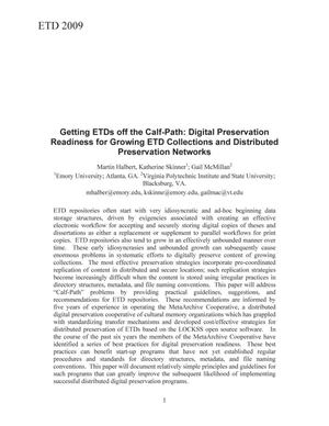 Primary view of object titled 'Getting ETDs off the Calf-Path: Digital Preservation Readiness for Growing ETD Collections and Distributed Preservation Networks'.
