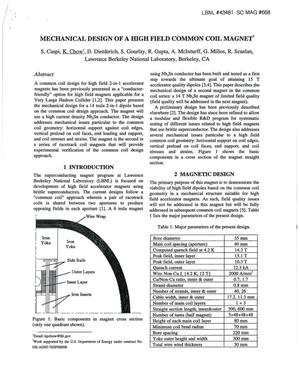 Primary view of object titled 'Mechanical design of a high field common coil magnet'.
