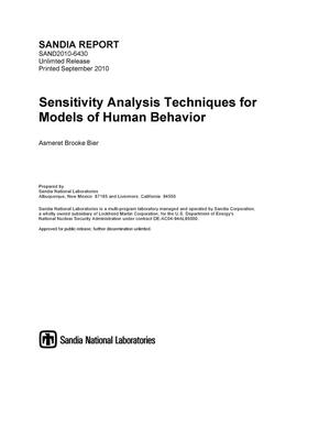 Primary view of object titled 'Sensitivity analysis techniques for models of human behavior.'.