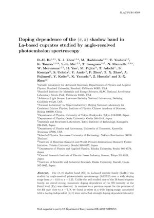 Primary view of object titled 'Doping Dependence of the $(\pi,\pi)$ Shadow Band in La-Based Cuprates Studied by Angle-Resolved Photoemission Spectroscopy'.