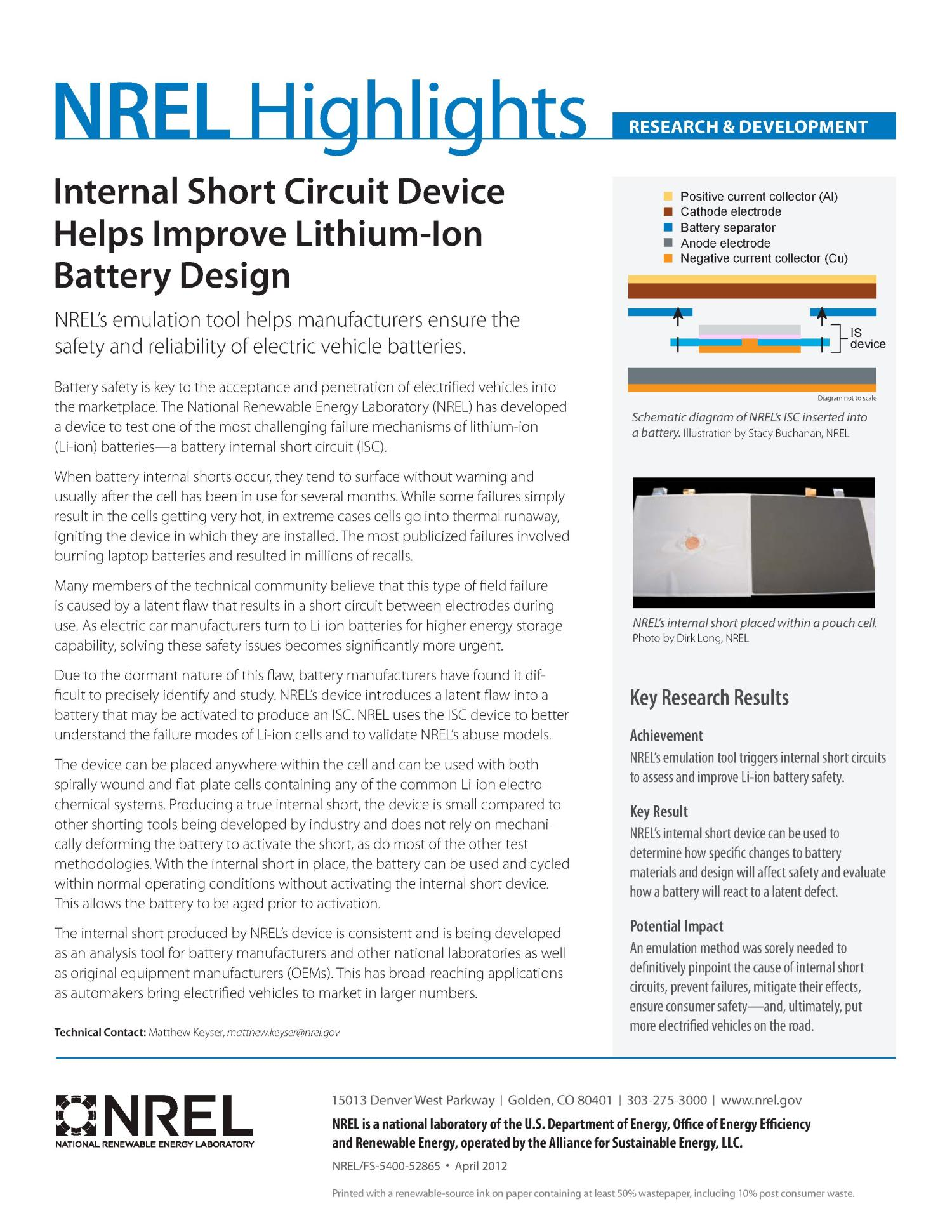 Internal Short Circuit Device Helps Improve Lithium Ion Battery Car Tester Testing Machine Buy Design Fact Sheet Digital Library