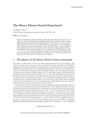 Primary view of object titled 'The Heavy Photon Search Experiment'.