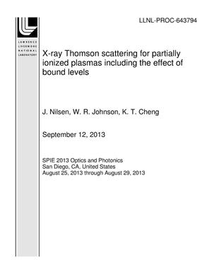 Primary view of object titled 'X-ray Thomson scattering for partially ionized plasmas including the effect of bound levels'.