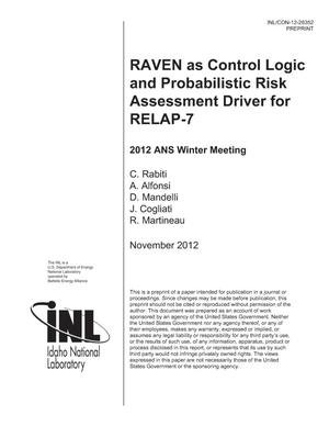 Primary view of object titled 'RAVEN as Control Logic and Probabilistic Risk Assessment Driver for RELAP-7'.