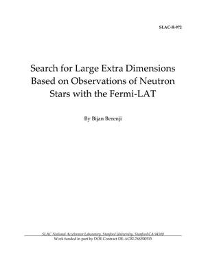 Primary view of object titled 'Search for Large Extra Dimensions Based on Observations of Neutron Stars with the Fermi-LAT'.