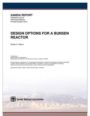 Primary view of object titled 'Design options for a bunsen reactor.'.