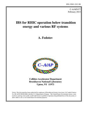 Primary view of object titled 'IBS for RHIC operation below transition energy and various RF systems'.