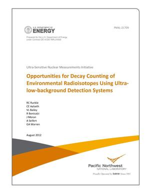 Primary view of object titled 'Opportunities for Decay Counting of Environmental Radioisotopes Using Ultra-low-background Detection Systems'.