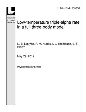 Primary view of object titled 'Low-temperature triple-alpha rate in a full three-body model'.