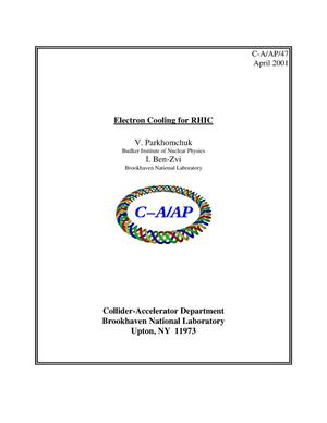 Primary view of object titled 'Electron Cooling for RHIC'.