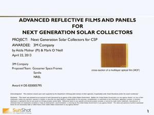 Primary view of object titled 'NEXT GENERATION SOLAR COLLECTORS FOR CSP'.