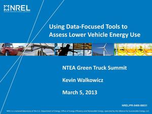 Primary view of object titled 'Using Data-Focused Tools to Assess Lower Vehicle Energy Use (Presentation)'.