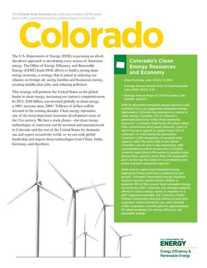 Primary view of object titled 'Colorado: Colorado's Clean Energy Resources and Economy (Brochure)'.