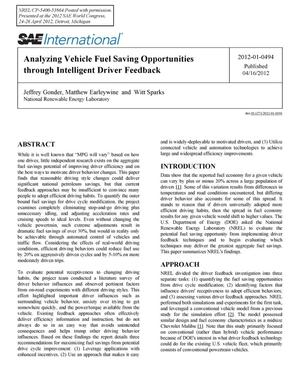 Primary view of object titled 'Analyzing Vehicle Fuel Saving Opportunities through Intelligent Driver Feedback'.