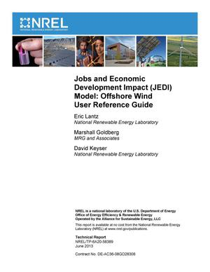 Primary view of object titled 'Jobs and Economic Development Impact (JEDI) Model: Offshore Wind User Reference Guide'.