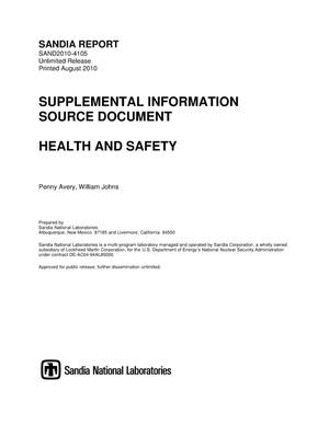 Primary view of Health and safety.